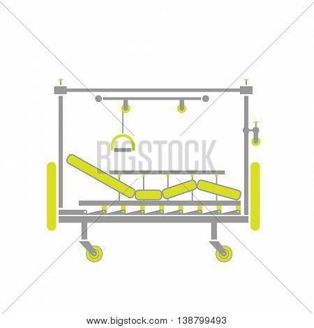Flat Icon of Orthopedics Hospital Bed Isolated on White Background. Vector Illustration