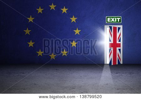 Brexit concept. Image of an exit door with national flag of UK and EU