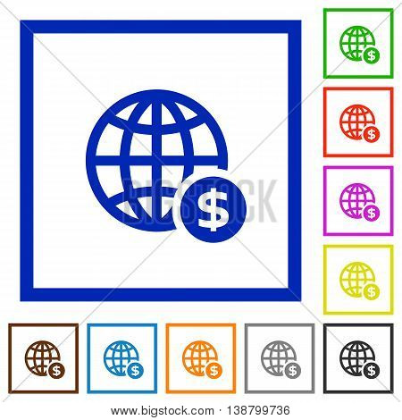 Set of color square framed Online dollar payment flat icons