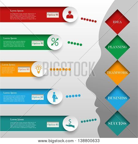 Business infographic template with human face. Concept with 5 options or steps. The way from idea to success