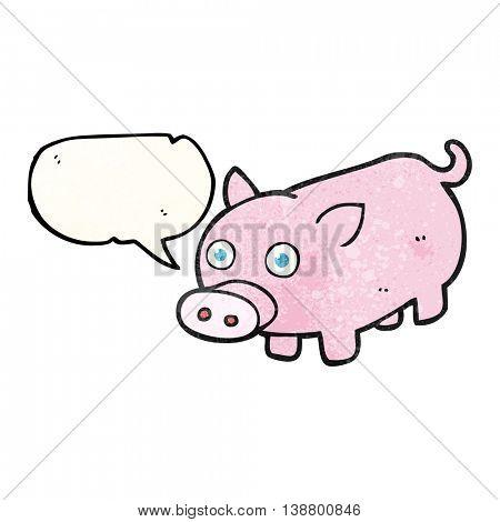 freehand speech bubble textured cartoon piglet