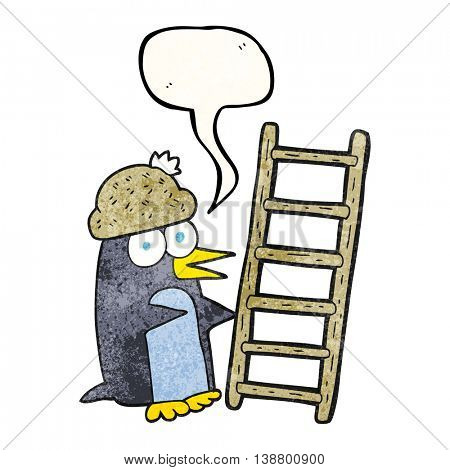 freehand drawn texture speech bubble cartoon penguin with ladder