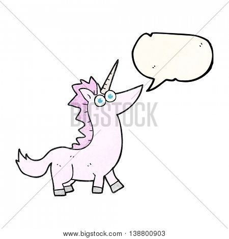 freehand speech bubble textured cartoon unicorn