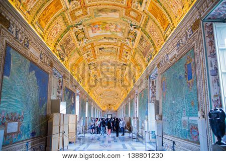 ROME, ITALY - APRIL 8, 2016: Museums of Vatican.  Detail of painted ceiling