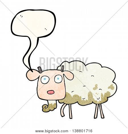 freehand speech bubble textured cartoon muddy goat
