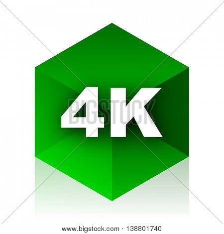 4k cube icon, green modern design web element