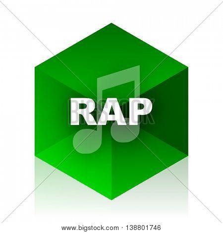 rap music cube icon, green modern design web element