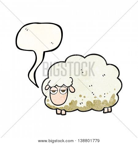 freehand speech bubble textured cartoon muddy winter sheep