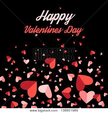 Greeting card with hearts on a black background