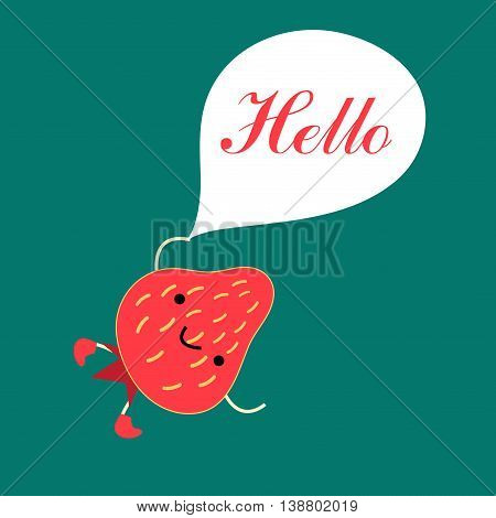 Funny red strawberry with the inscription on green background