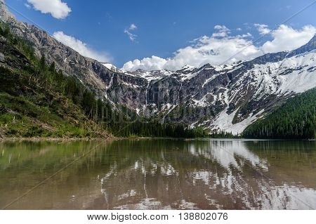 Scenic view of Avalanche Lake and glaciers in West Glacier National Park Montana