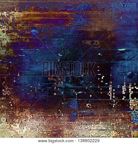 Vintage texture, old style frame decoration with grunge graphic elements and different color patterns: yellow (beige); brown; black; blue; purple (violet); pink