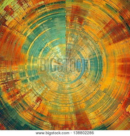 Aged background or texture. Spherical vintage graphic composition with grunge style elements and different color patterns: yellow (beige); brown; green; blue; red (orange); cyan
