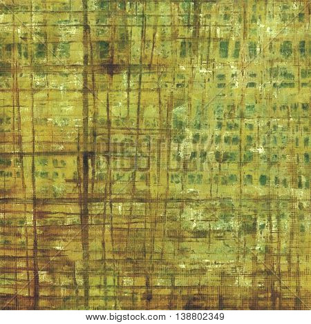 Damaged retro texture with grunge style elements and different color patterns: yellow (beige); brown; gray; green