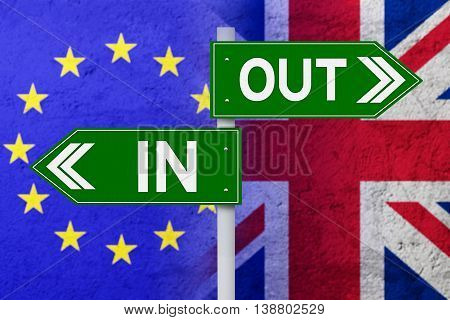 Brexit concept. Signpost with two arrows pointing at flag of European Union and United Kingdom