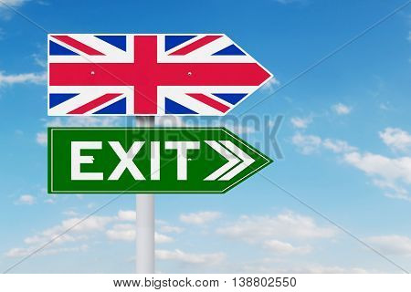 Brexit concept. Image of signpost with national flag of United Kingdom and Exit word
