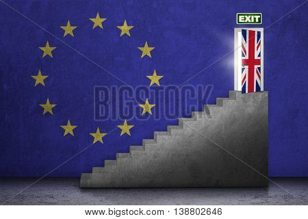 Brexit concept. Image of a stairs toward exit door with national flag of UK and EU