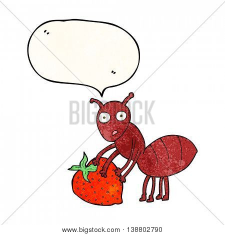 freehand speech bubble textured cartoon ant with berry