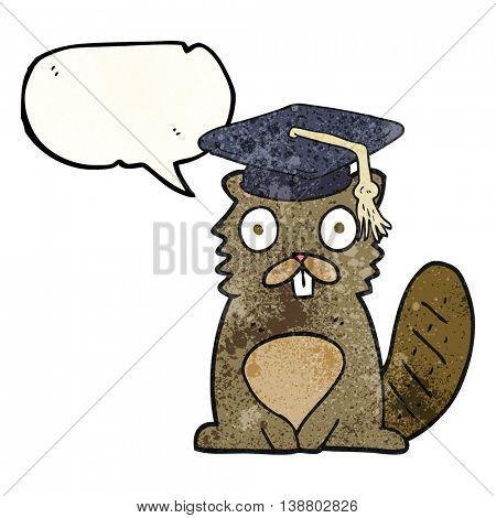 freehand speech bubble textured cartoon beaver graduate