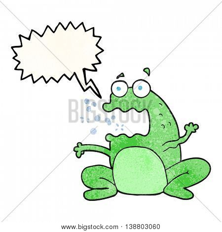 freehand speech bubble textured cartoon burping frog