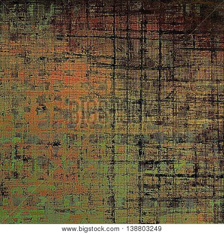 Grunge texture or background with retro design elements and different color patterns: yellow (beige); brown; gray; black; green; red (orange)