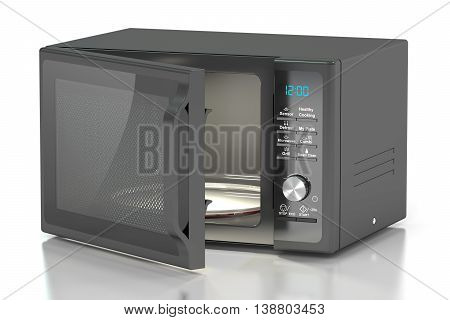 black microwave oven 3D rendering isolated on white background