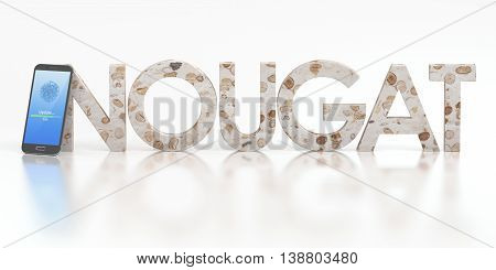 smartphone nougat concept 3D rendering isolated on white background