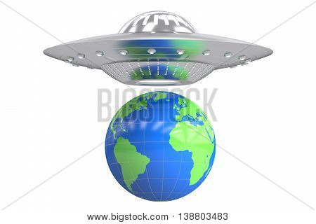 UFO and earth concept 3D rendering isolated on white background