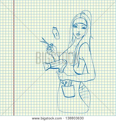 Professional hairdresser with hairdryer. Hand drawn vector stock illustration. Sheet ball pen drawing.