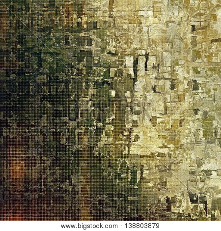 Aged vintage background with weathered texture, grunge design elements and different color patterns: yellow (beige); brown; gray; black; green