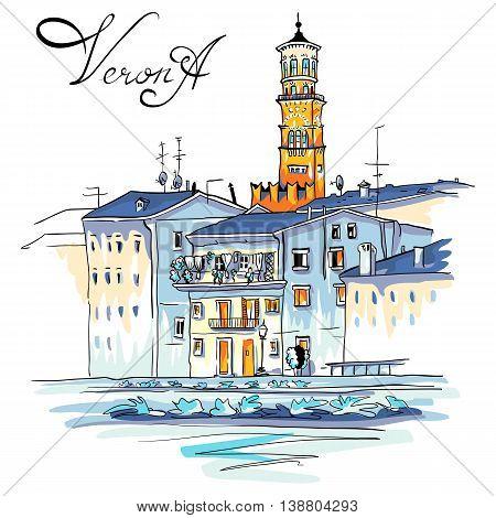 Vector Adige River Embankment and Tower Lamberti, Verona, Italy