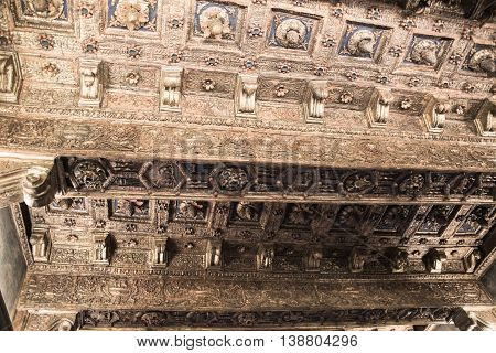 ROME, ITALY - APRIL 8, 2016: Ancient wooden ceiling in papa's room