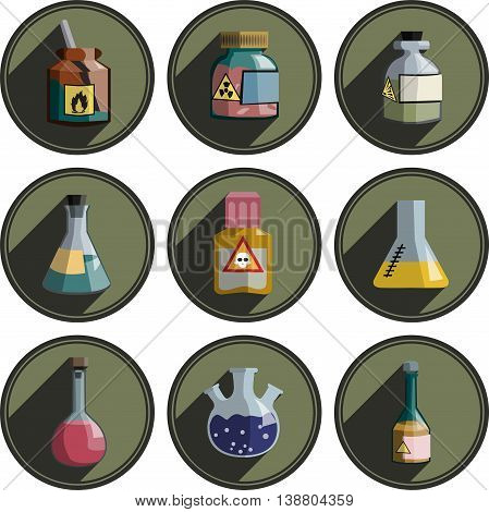 different logos on chemistry and laboratory glassware.