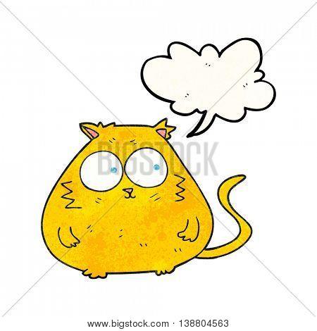freehand speech bubble textured cartoon fat cat