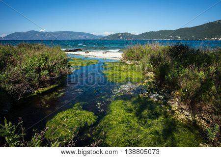 Image of lake Karavomilos at Kefalonia island in Greece
