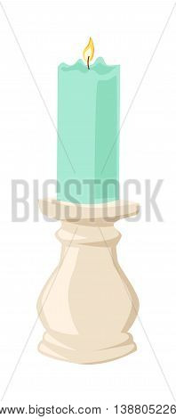 Burning wax candle flat illustration. Cartoon candle on a saucer. Traditional holidays candles isolated .