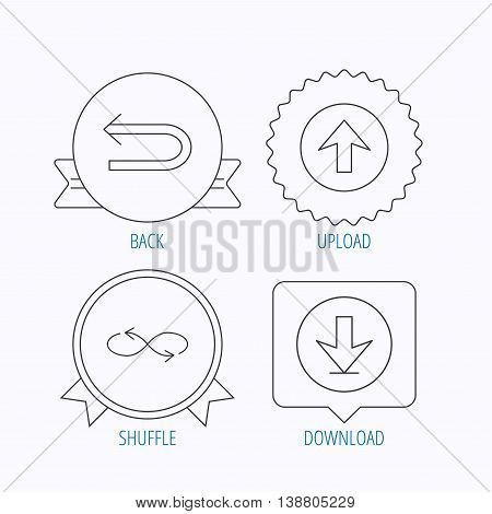 Arrows icons. Download, repeat and shuffle linear signs. Upload, back arrow flat line icons. Award medal, star label and speech bubble designs. Vector