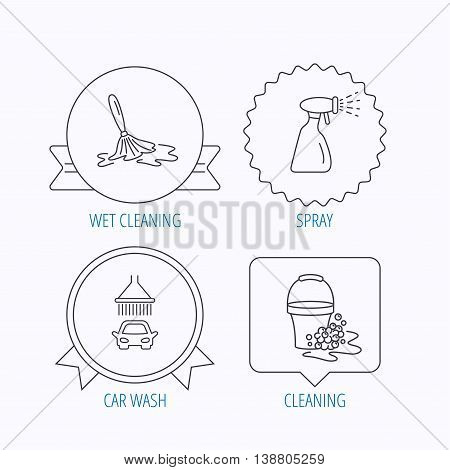 Car wash icons. Automatic cleaning station linear signs. Bucket with foam bubbles, spray flat line icons. Award medal, star label and speech bubble designs. Vector