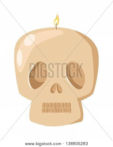 Burning skull bones head wax candle flat vector illustration. Cartoon candle on a saucer. Traditional holidays candles isolated vector.
