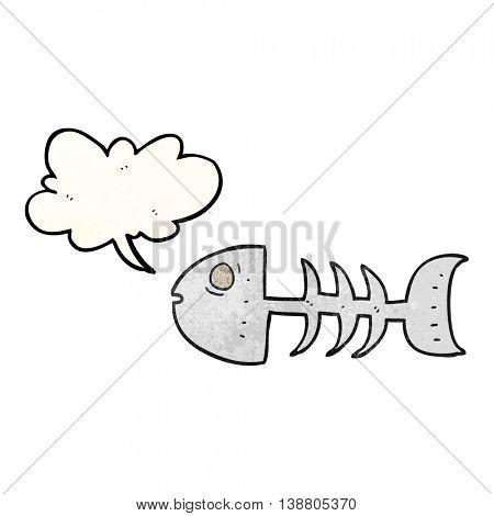 freehand speech bubble textured cartoon fish bones
