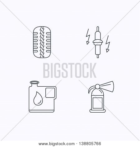 Wheel, fire extinguisher and spark plug icons. Fuel jerrycan, tire tread linear signs. Flat linear icons on white background. Vector