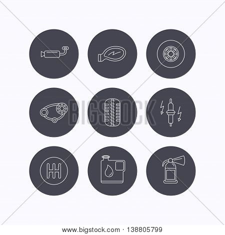 Wheel, car mirror and timing belt icons. Fire extinguisher, jerrycan and manual gearbox linear signs. Muffler, spark plug icons. Flat icons in circle buttons on white background. Vector