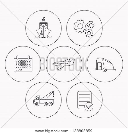 Transportation icons. Cruise, airplane and van linear signs. Evacuator flat line icon. Check file, calendar and cogwheel icons. Vector