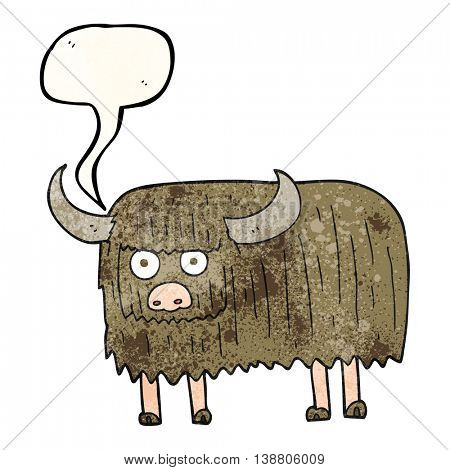 freehand speech bubble textured cartoon hairy cow