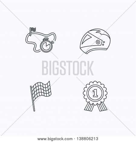 Race flag, motorcycle helmet and award medal icons. Start or finish flag linear sign. Flat linear icons on white background. Vector