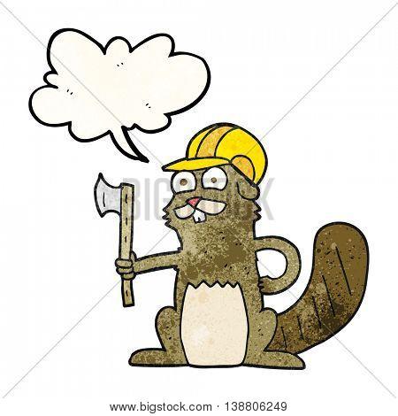 freehand speech bubble textured cartoon beaver