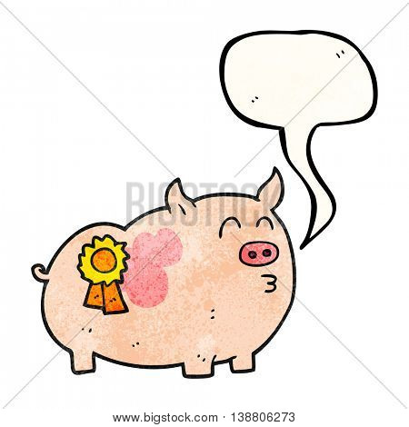 freehand speech bubble textured cartoon prize winning pig