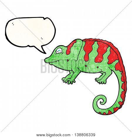 freehand speech bubble textured cartoon chameleon