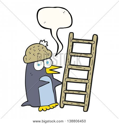freehand drawn speech bubble cartoon penguin with ladder