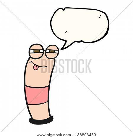 freehand drawn speech bubble cartoon worm